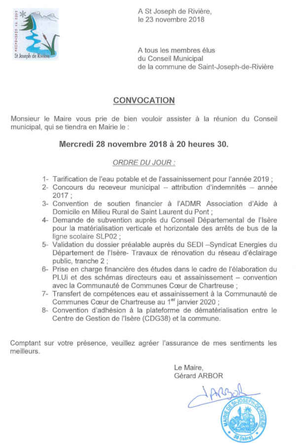Convocation CM 28 novembre 2018