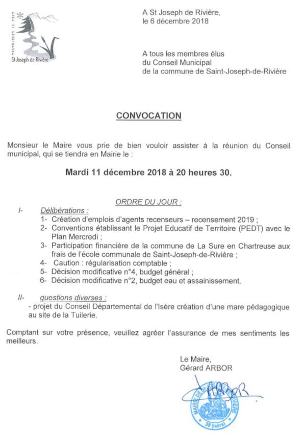 Convocation CM 11 décembre 2018