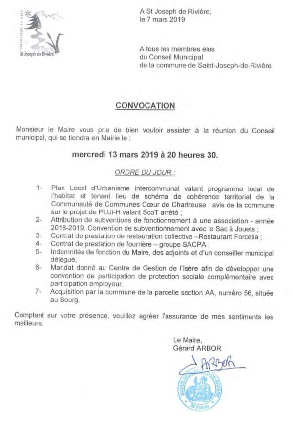 Convocation conseil municipal