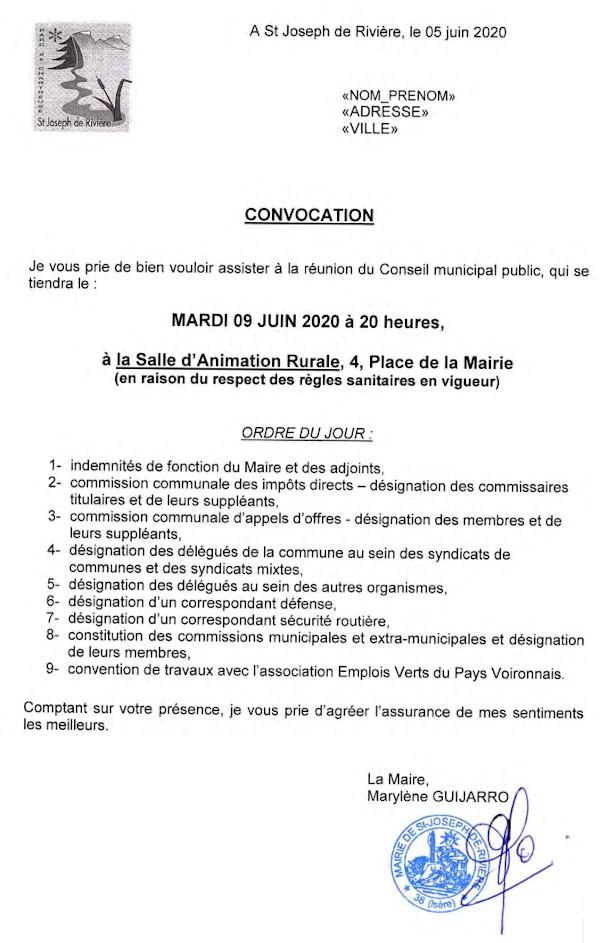 Convocation conseil municipal 9 juin 2020