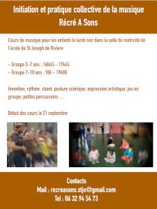 L'association RECRE A SONS a pour but de contribuer au développement de l'éducation musicale sur St Joseph de Rivière et ses alentours